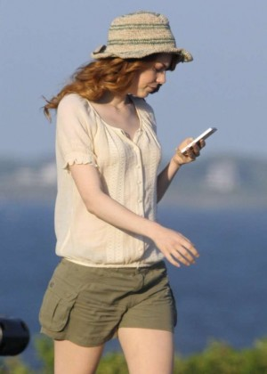 Emma Stone on a film set in Newport, Rhode Island