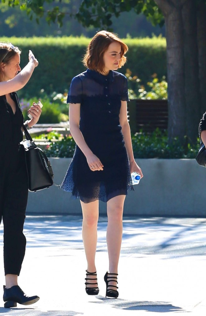 Emma Stone in Blue Mini Dress out in LA