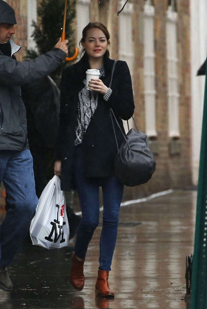 Emma Stone in Jeans on Rainy Day out in New York