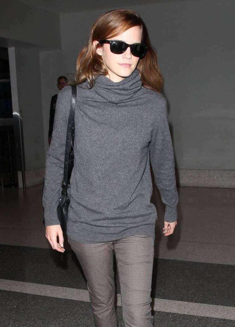 Emma Watson in Tight Pants at LAX Airport in LA