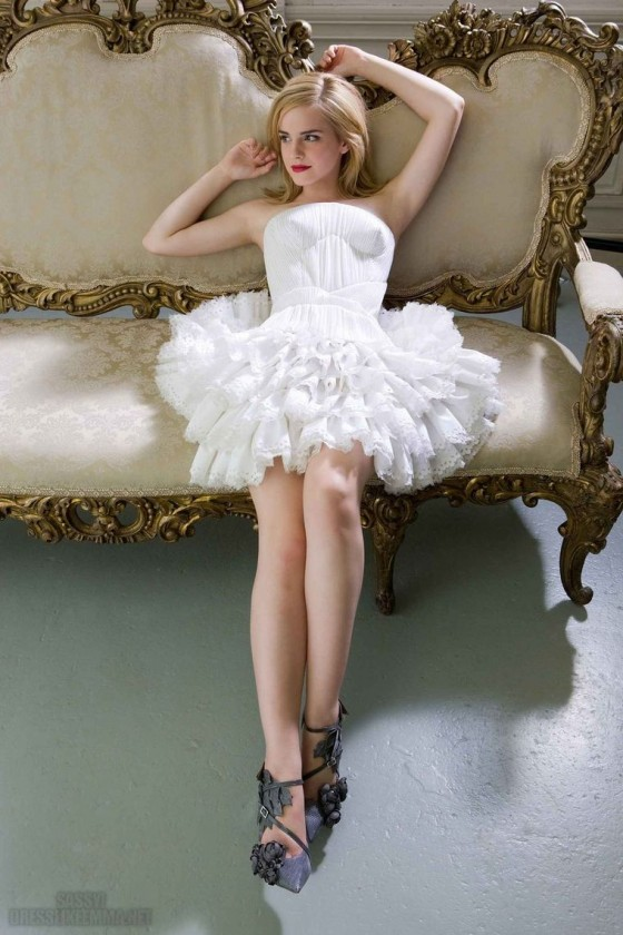 Emma Watson In White Dress For Elle Girl Photoshoot 2009