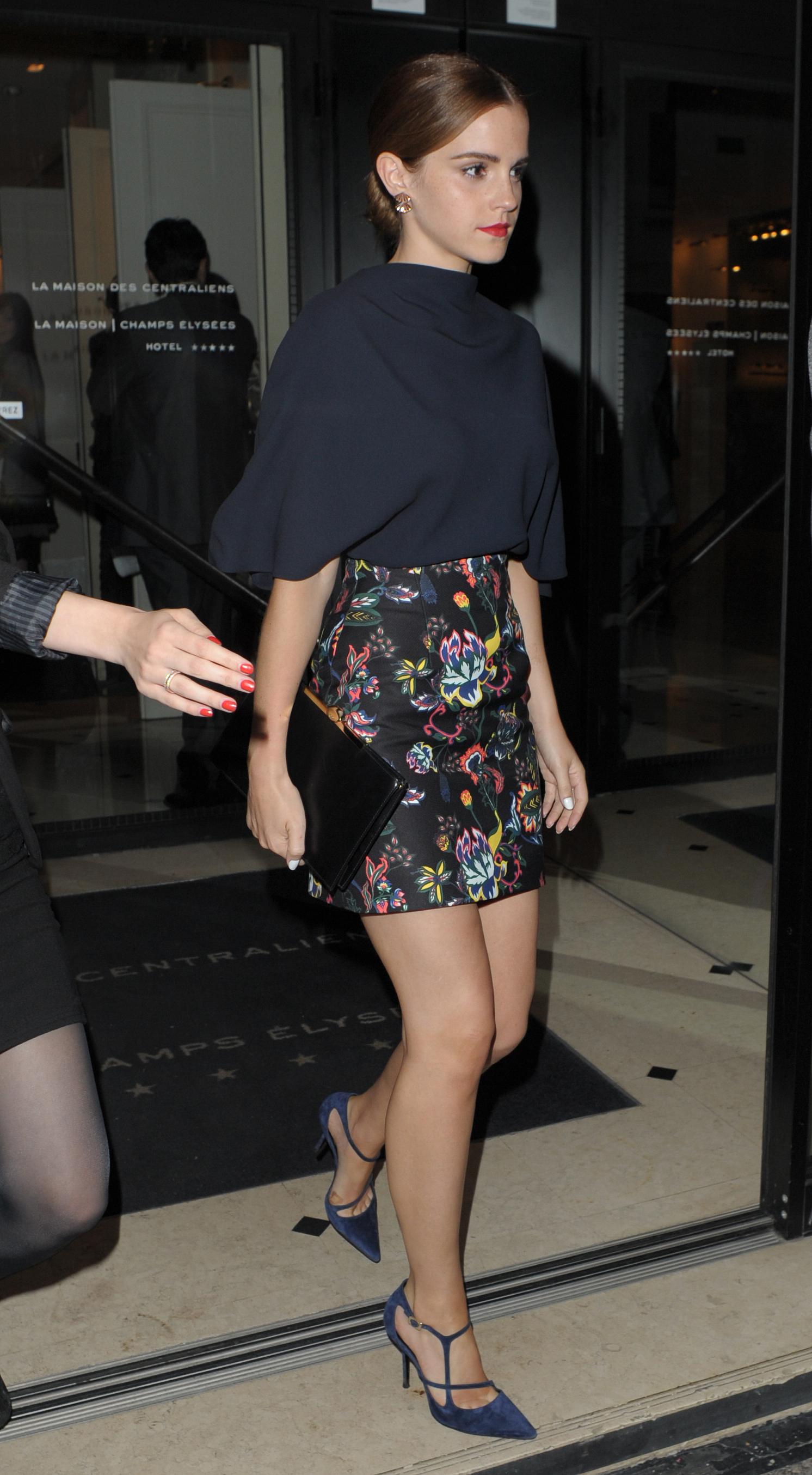 Emma Watson 2014 : Emma Watson in skirt leaving her hotel ...