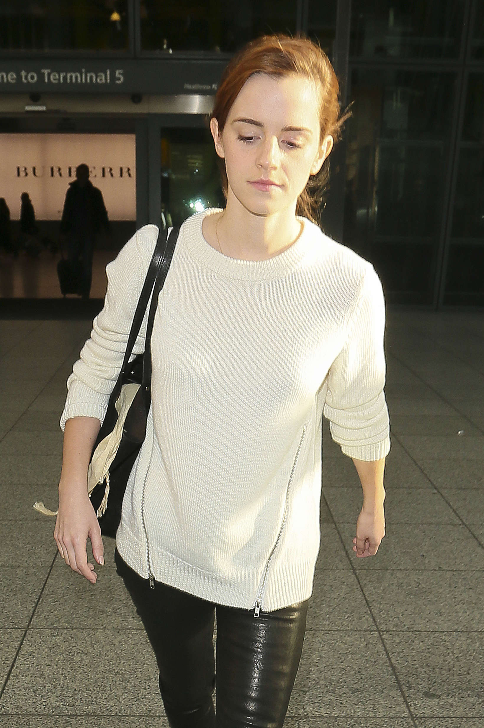 Emma Watson In Leather Pants At Heathrow 02 Gotceleb
