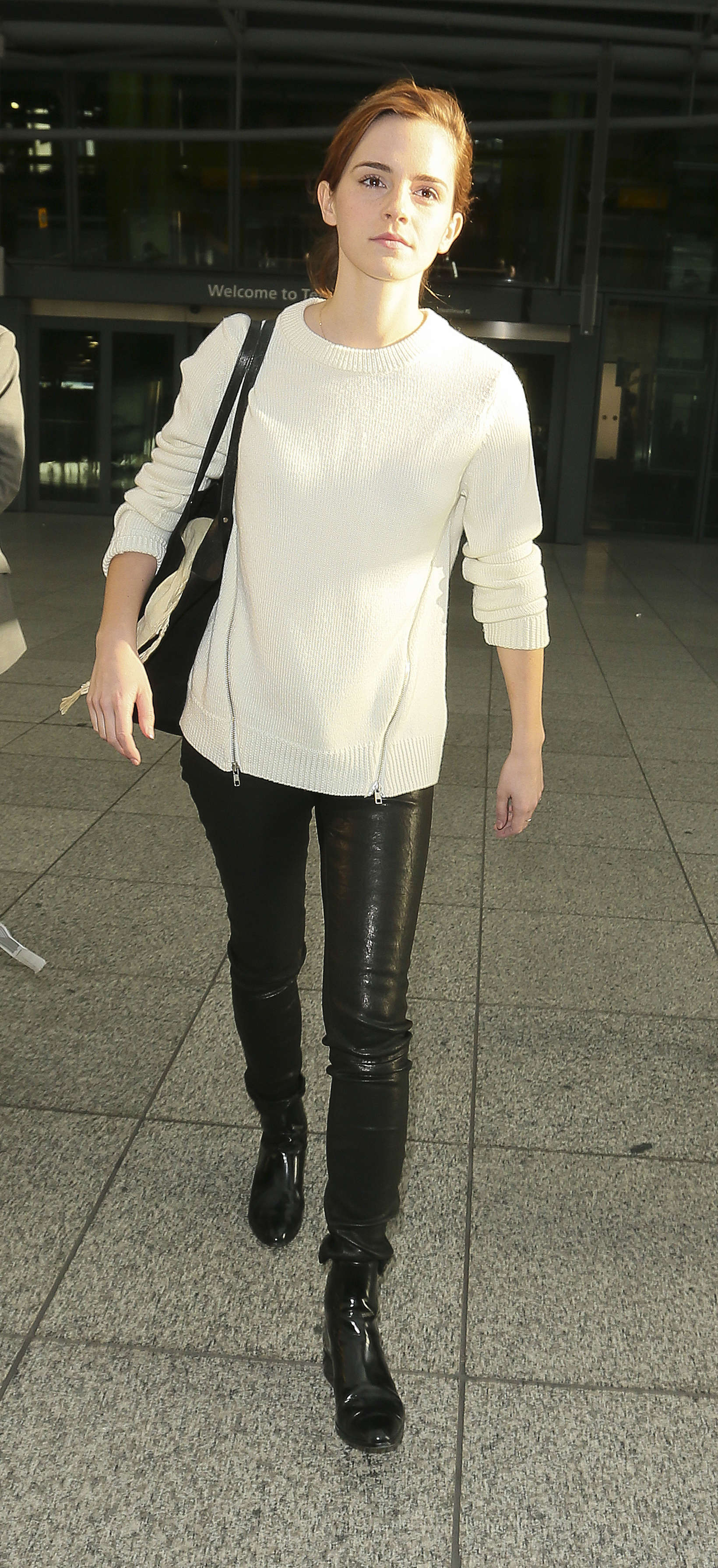 Emma Watson: In Leather Pants at Heathrow -08