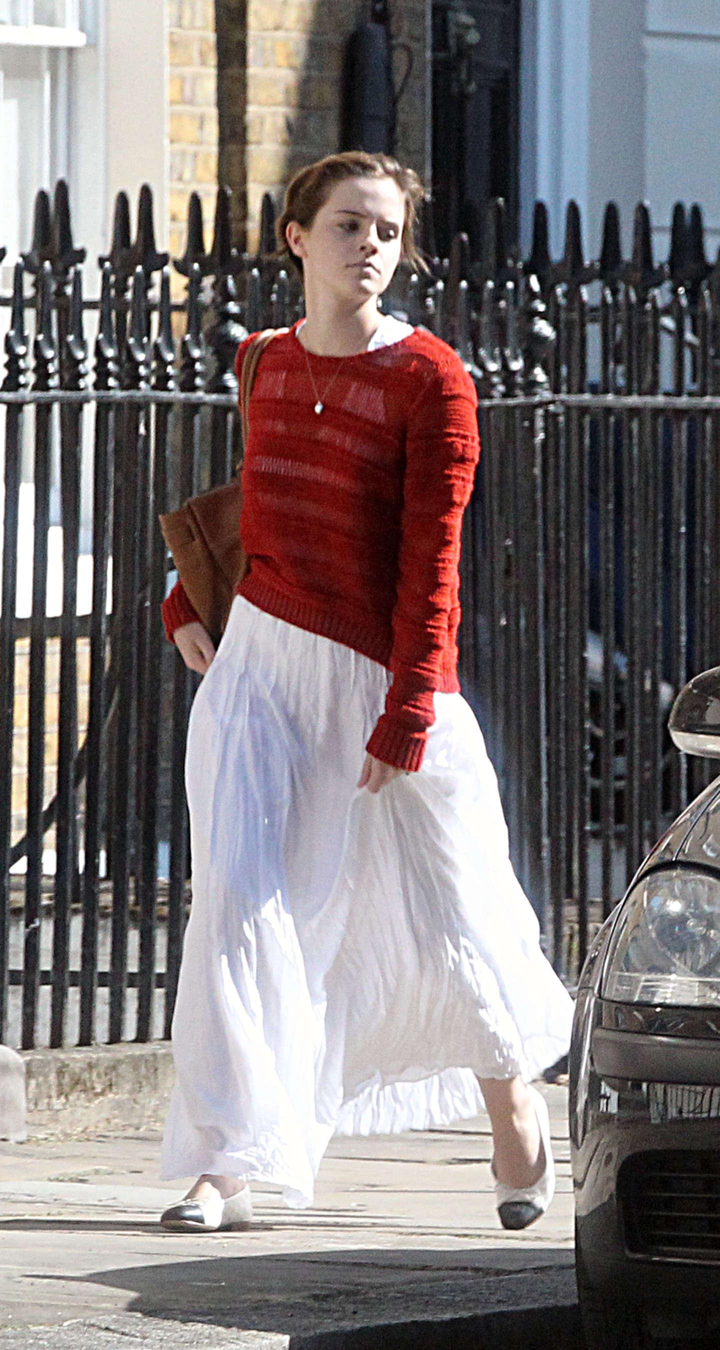 Emma Watson White Long Skirt Candids In London Gotceleb