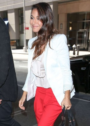 Emmanuelle Chriqui in Red Pants Leaving her hotel in NYC