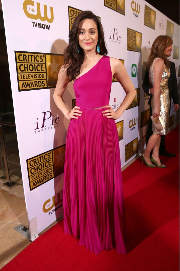 Emmy Rossum pink longh dress-05 - GotCeleb Emmyschoice