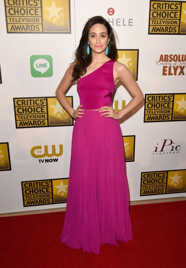 Emmy Rossum pink longh dress-08 - GotCeleb Emmyschoice