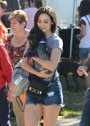 Emmy Rossum in Jeans Shorts - Adopting a dog at the NKLA Adoption Event in LA