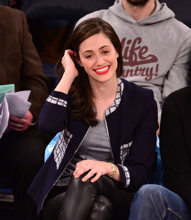 Emmy Rossum at a Knicks vs Mavericks game in New York City