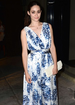 Emmy Rossum Wear Long Summer Dress at Craig's in West Hollywood