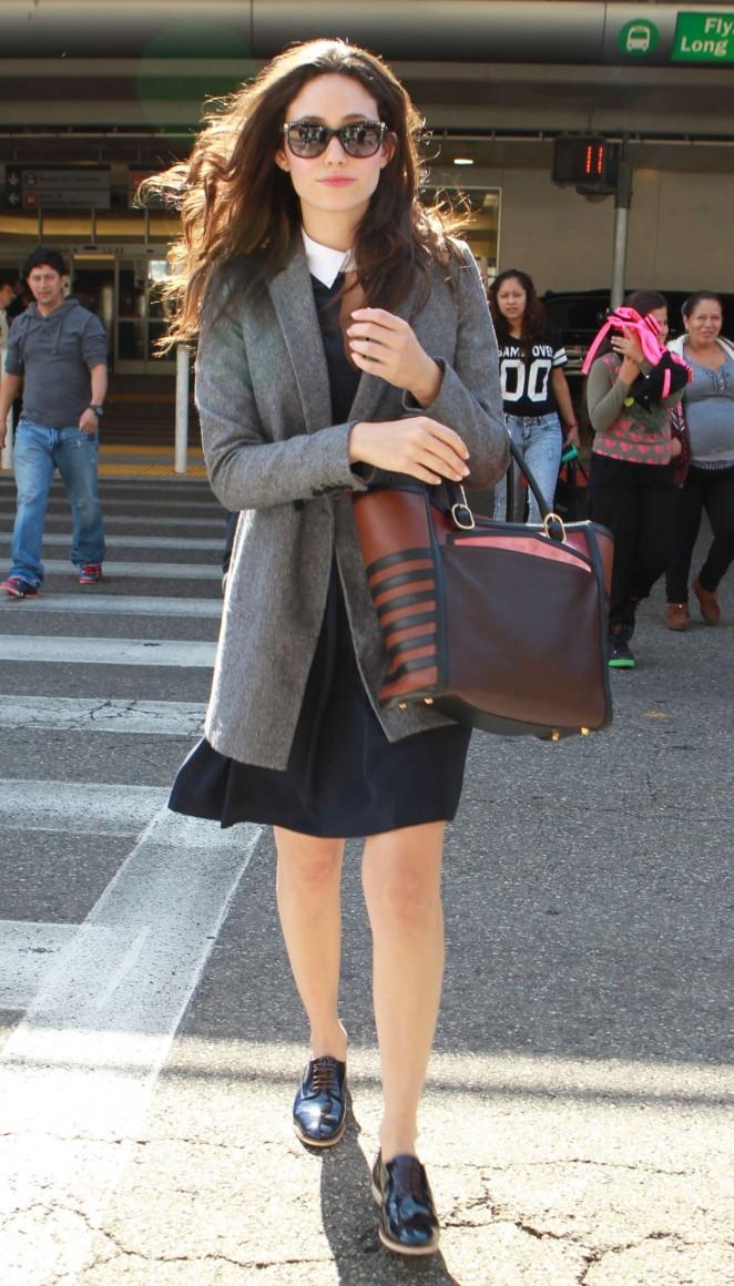 Emmy Rossum in Black Mini Dress at LAX Airport in LA