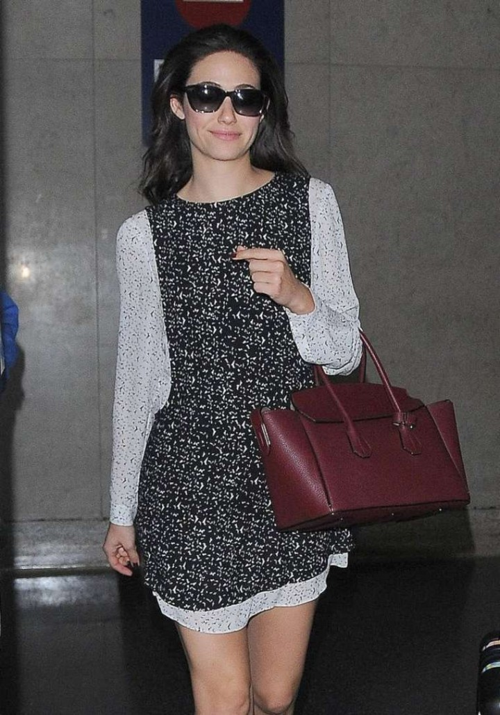 Emmy Rossum in Mini Dress at LAX Airport
