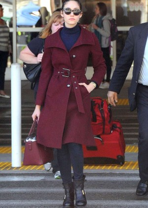 Emmy Rossum in Red Coat at LAX Airport in LA