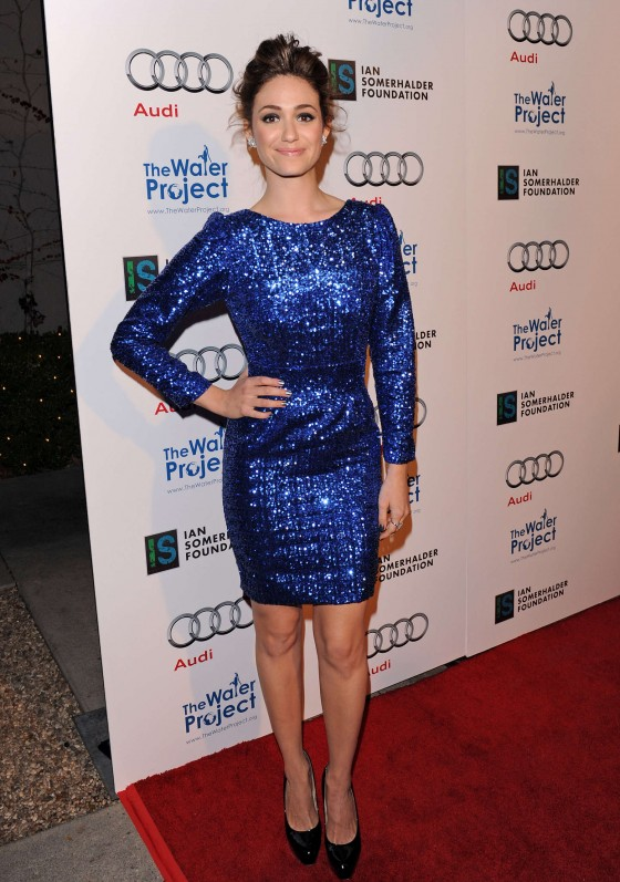 Emmy Rossum - Hot in Blue Dress at The Ripple Effect Charity Event -02