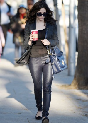 Emmy Rossum in Leather Pants out in LA