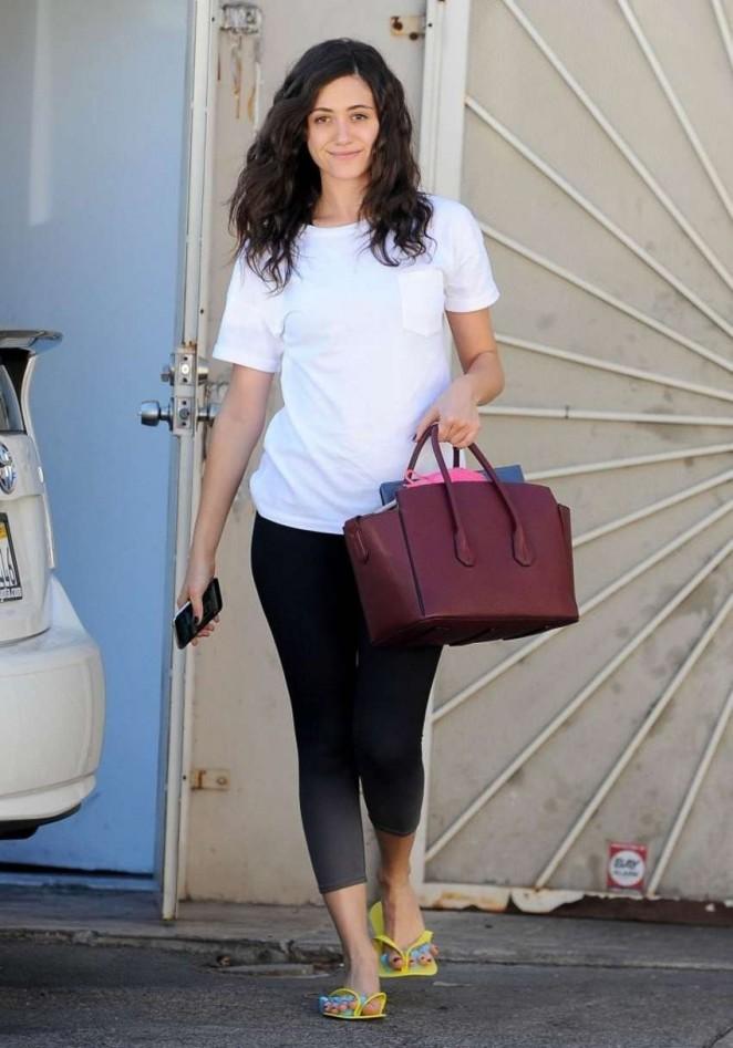 Emmy Rossum in Leggings Leaving a nail salon in LA