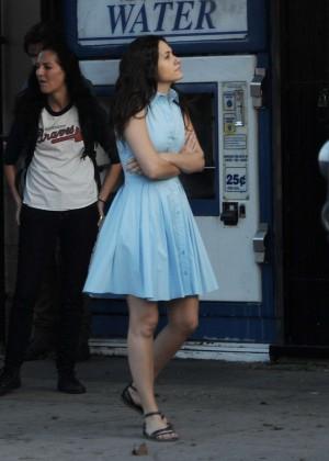 Emmy Rossum in Blue Dress Filming 'Shameless' set in Hollywood