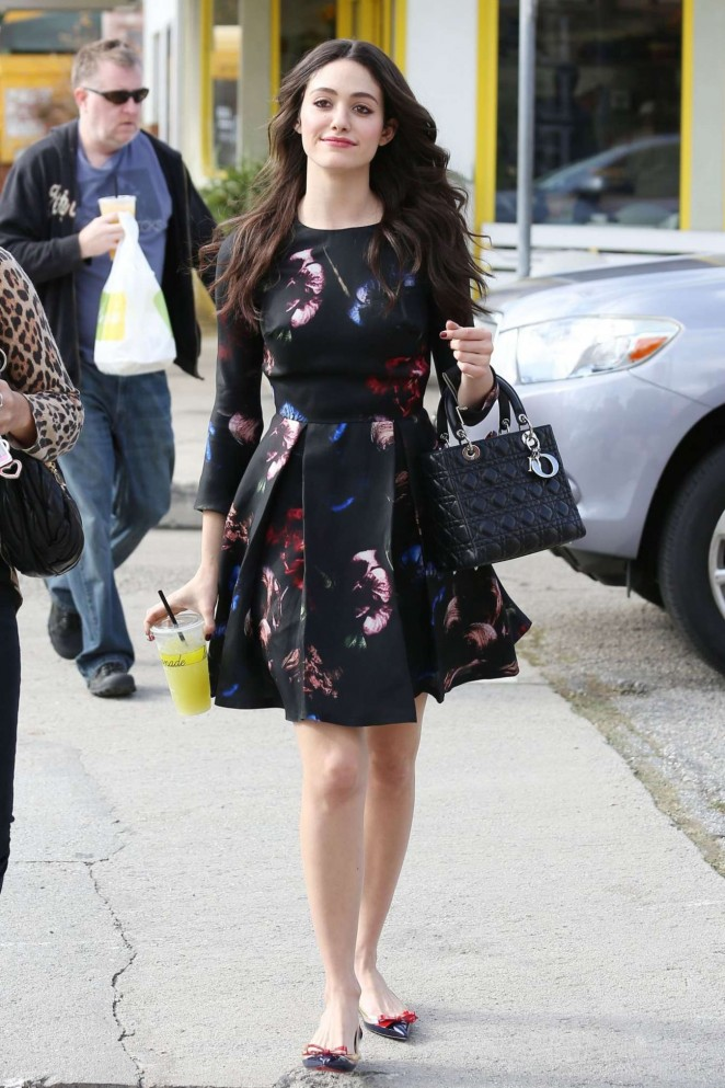 Emmy Rossum in Mini Dress Out in Los Angeles