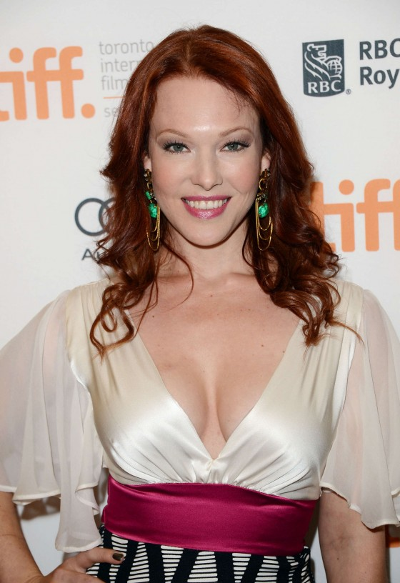 Erin Cummings showing cleavage at Premiere The Iceman in Toronto