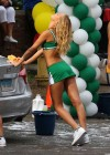 Erin Heatherton - Car wash in cheerleader outfit on the set of Grown Ups 2 in Marblehead