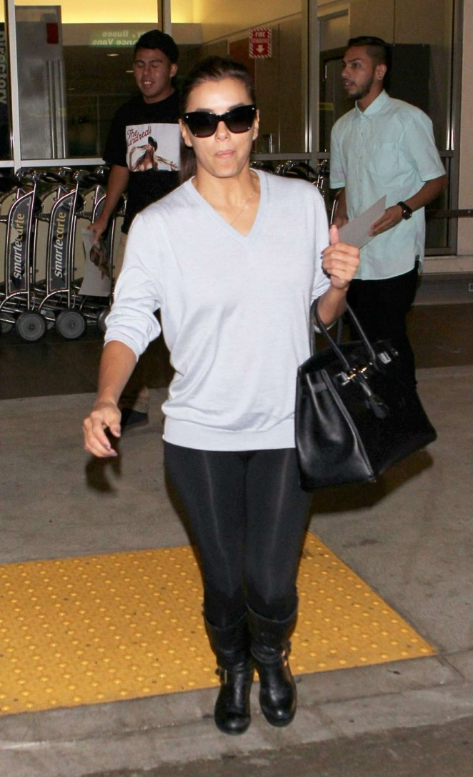 Eva Longoria in Leggings - Arrives at LAX Airport in Los Angeles