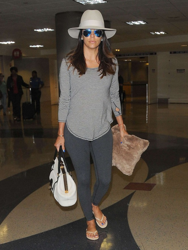 Eva Longoria in Spandex at LAX Airport in LA
