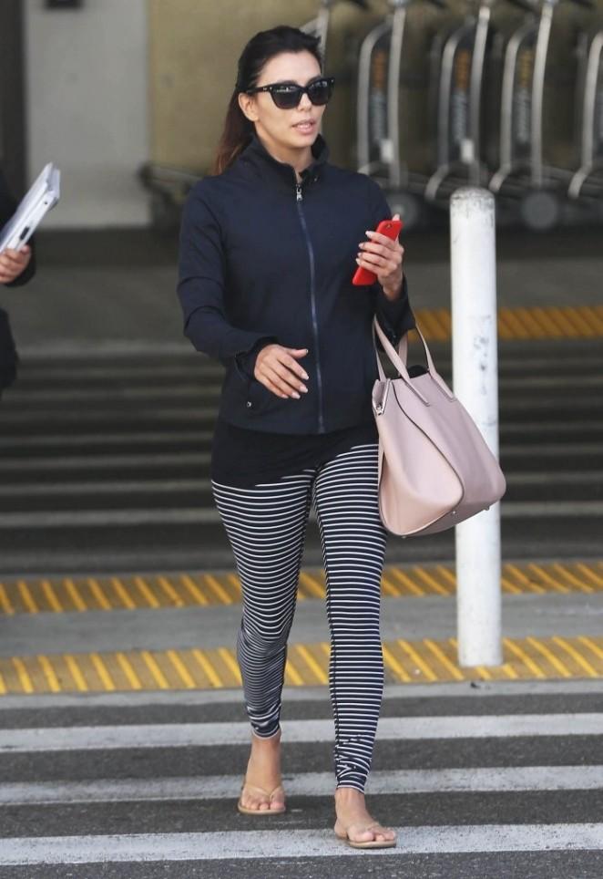 Eva Longoria in Tight leggings at LAX airport in Los Angeles