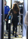 Eva Longoria In leggings at LAX-02