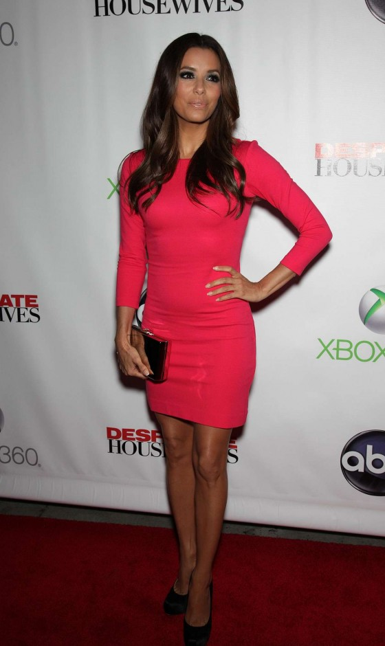 "Eva Longoria In a red dress and high heels at ""Desperate Housewives"" finale party"