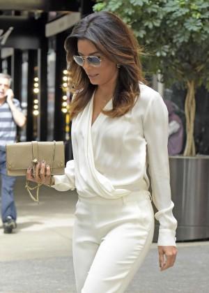 Eva Longoria exiting the Four Seasons Hotel in NYC