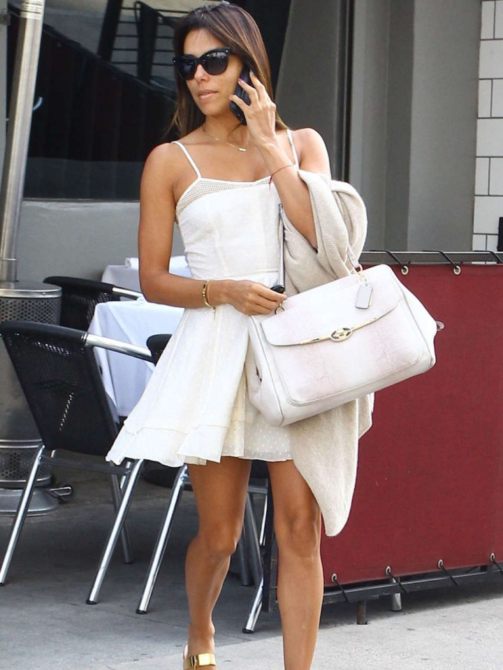 Eva Longoria in a Short White Dress -08