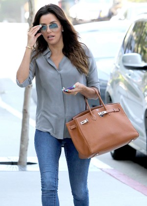 Eva Longoria in jeans out in Hollywood