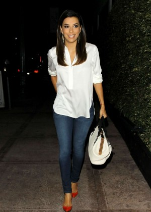 Eva Longoria in Jeans Leaves Beso Restoraunt in LA