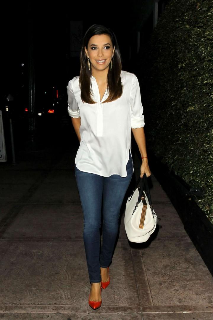 Eva Longoria in Jeans Leaves Beso Restoraunt in LA