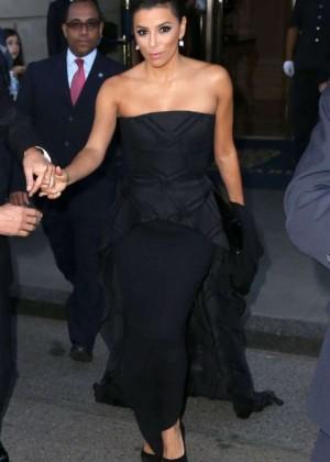 Eva Longoria in Black Dress Leaving her hotel in New York City