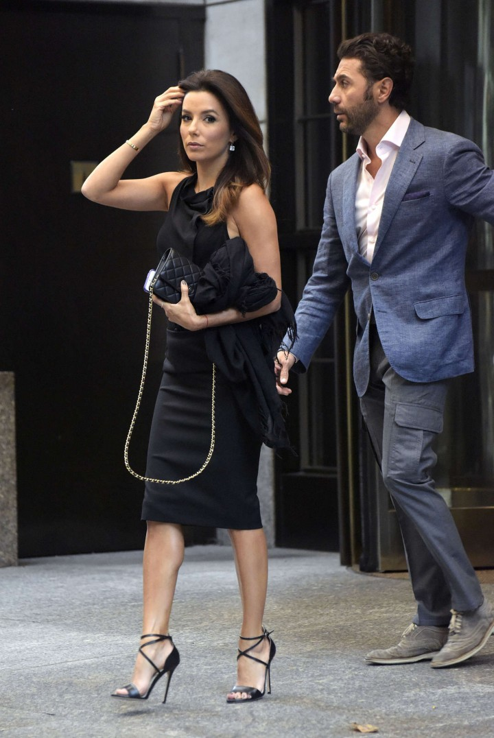 Eva Longoria in Tight Black Dress Leaving the Four Seasons Hotel in New York City