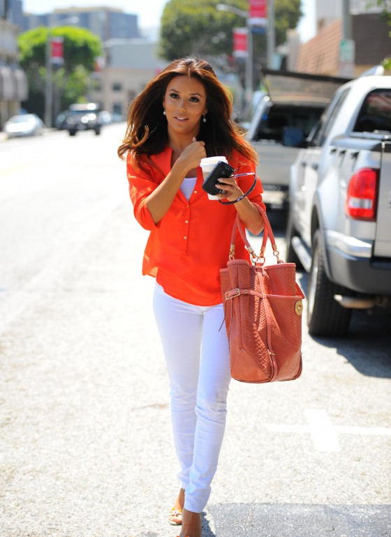 Eva Longoria in Sexy White Pants Leavs Studio in Culver City-02