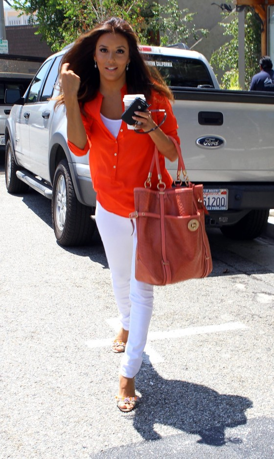 Eva Longoria in Sexy White Pants Leavs Studio in Culver City-03