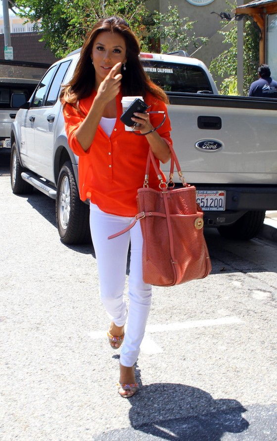 Eva Longoria in Sexy White Pants Leavs Studio in Culver City-13