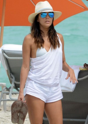 Eva Longoria in Shorts on the beach in Miami