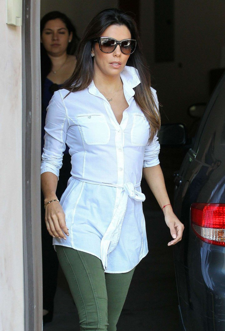Eva Longoria in Green Pants -04