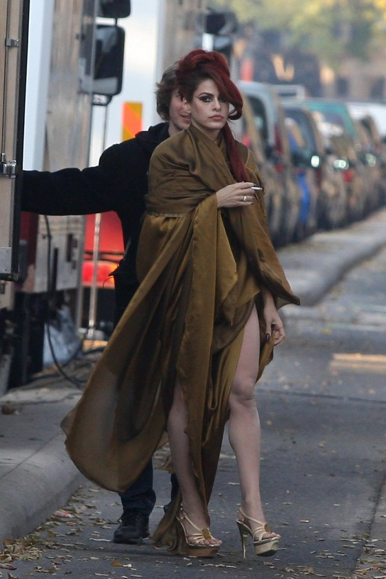 Eva Mendes – Leggy Candids on the set of Holly Motors