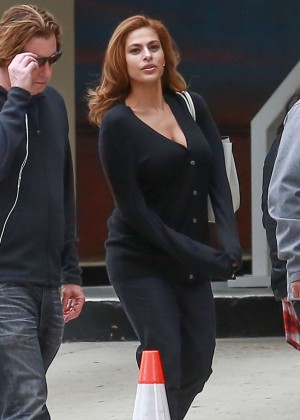 Eva Mendes on the Set While Shooting a Commercial in LA