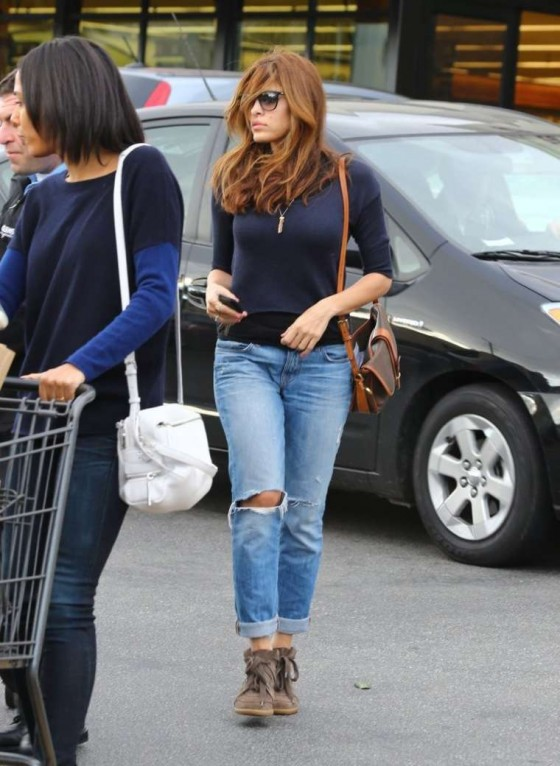 Eva Mendes Shopping Candids at Gelson's Market in Los Feliz