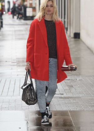 Fearne Cotton in Red Coat at BBC Radio 1 Studios in London