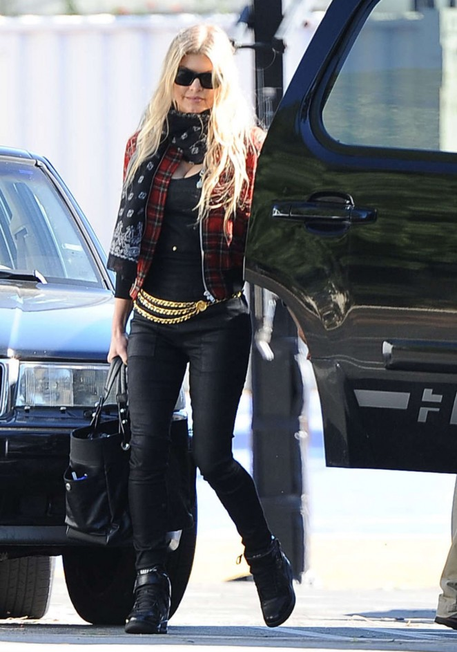 Fergie in Leather at a Church in Brentwood