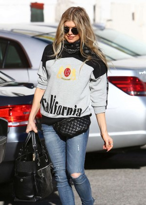 Fergie in Ripped Jeans Out in Brentwood