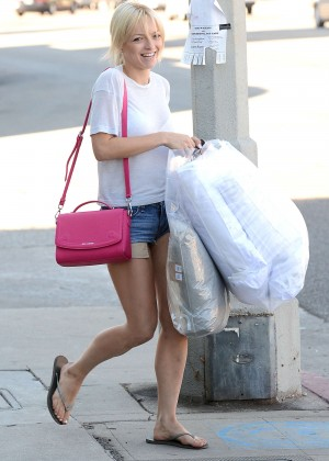 Francesca Eastwood in Denim Shorts Shopping in West Hollywood