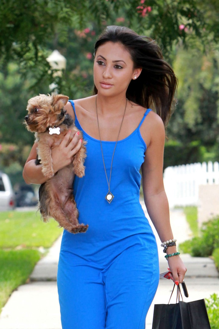 Francia Raisa in Blue Dress out in LA